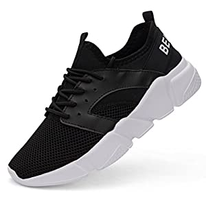 Belilent Men's Lightweight Running Shoes Breathable Athletic Casual Shoes, Black/White Sole-077, 45 M EU / 11 D(M) US