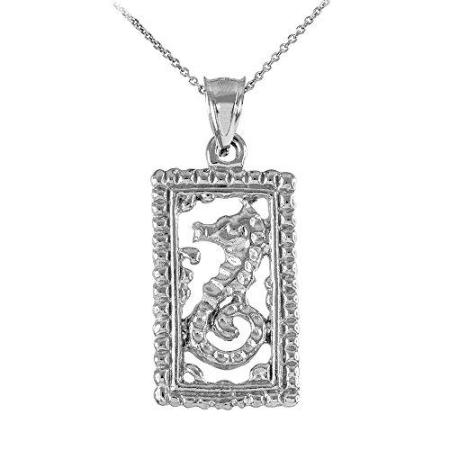 Collier Femme Pendentif 14 Ct Or Blanc Rectangulaire Perlé Cadre Hippocampe (Livré avec une 45cm Chaîne)