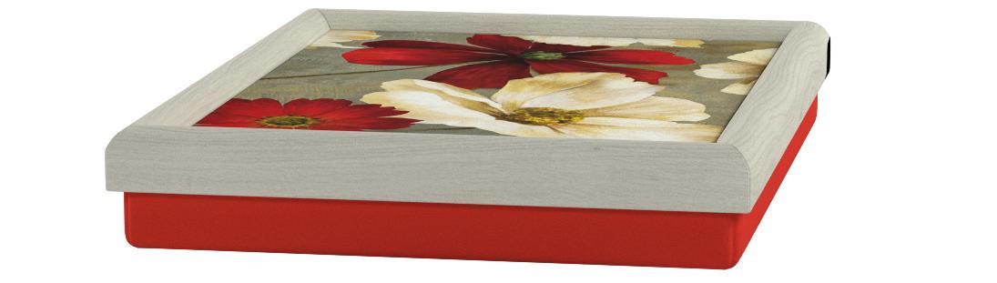 Hydrangea  Flower Faux Leather LAPTRAY Beanbag Lap Tray PADDED Cushion Grey Tray