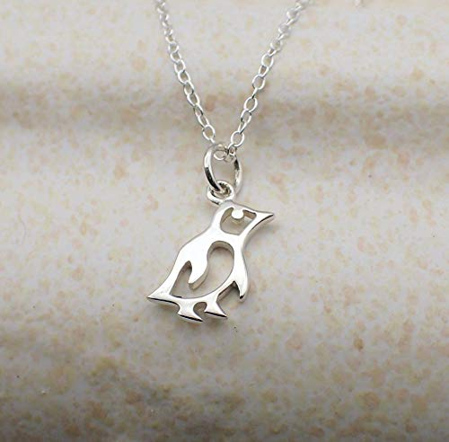 Sterling Silver Dainty Penguin Necklace 16 -