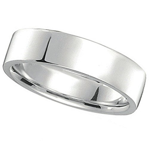 - 950 Palladium Wedding Band Plain Ring Flat Comfort-Fit for Men (5 mm)