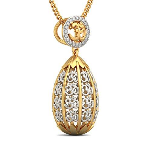 14K Or jaune 0,1ct tw Round-cut-diamond (IJ   SI) Pendentif