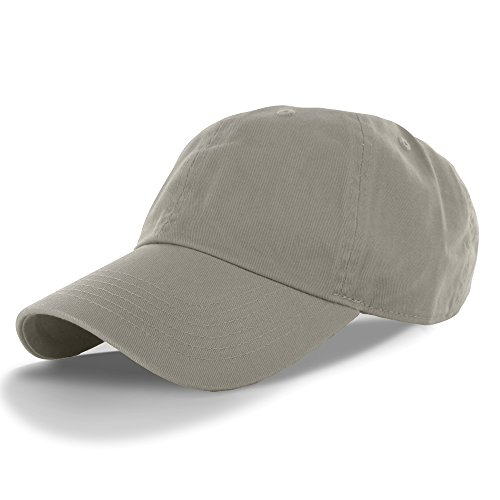 Chino Washed Cotton Cap - Plain 100% Cotton Hat Men Women Adjustable Baseball Cap (30+ Colors) Gray, One Size