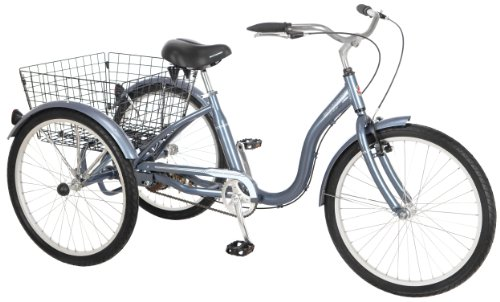 Schwinn Meridian Adult Tricycle with 24-Inch Wheels in Slate Blue, with Low Step-Through Aluminum Frame, Front and Rear Fenders, Adjustable Handlebars, Large Cruiser Seat, and Rear Folding Basket (Best 3 Wheel Bike For Adults)