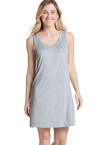 Jockey Women's Sleepwear Retro Stripe Henley Sleepshirt, Grey Heather, ()