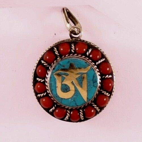 Delicate Thick Tibetan Turquoise Red Coral Gemstone Golden OM Ghau Box Pendant #ID-381 ()