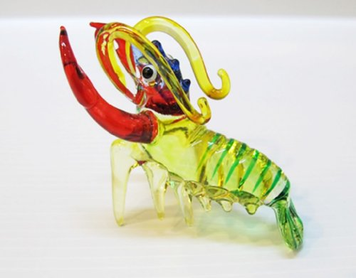 ChangThai Design Aquarium MINIATURE HAND BLOWN Art GLASS Small Lobster FIGURINE Collection