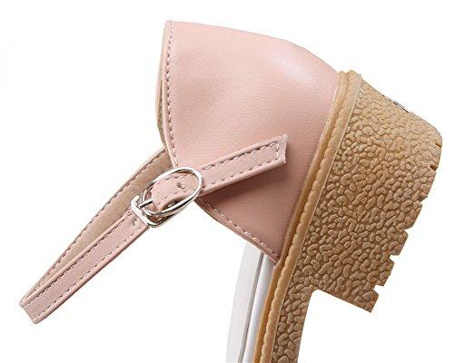 TSFLG005553 Unie Rose Bas Boucle Talon Femme Fermeture d'orteil Couleur Sandales AalarDom à nq7vFwX
