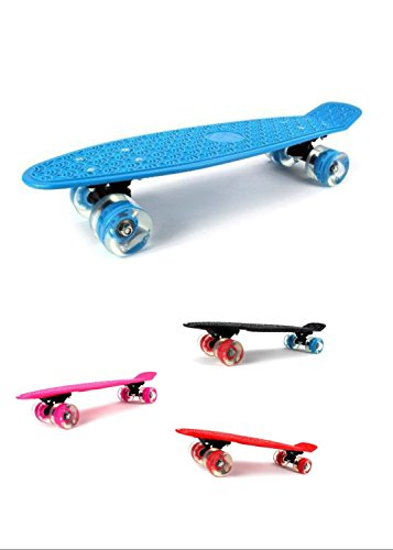 Complete Plastic Deck Skateboard Banana Penny Board w/ Light up Wheels 4 colors (Pink )