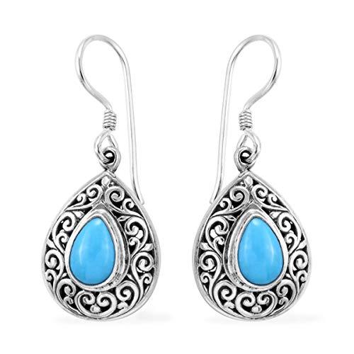Dangle Drop Earrings 925 Sterling Silver Pear Sleeping Beauty Turquoise Gift Jewelry for Women