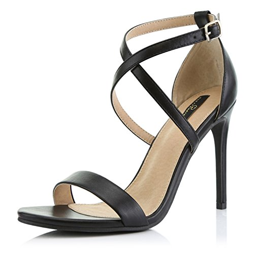 DailyShoes Women's Open Toe Ankle Buckle Cross Strap Platform Pump Evening Dress Party High Heel Jennifer-22 Sandals, Black PU, 8.5 B(M) US