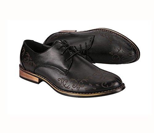 WZG Zapatos tallados Bullock ocasionales del negocio de los zapatos de la punta de la ultra-fibra del cordón de Derby del nuevo hombres Black