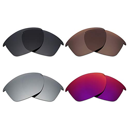 Mryok 4 Pair Polarized Replacement Lenses for Oakley Unstoppable Sunglass - Stealth Black/Bronze Brown/Silver Titanium/Midnight Sun