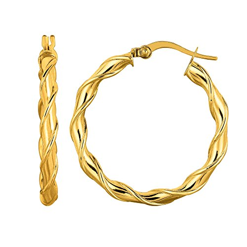 MCS Jewelry 14 Karat Yellow Gold Twisted Round Hoop Earrings ( 29 mm Diameter ) Napier Twisted Bracelet