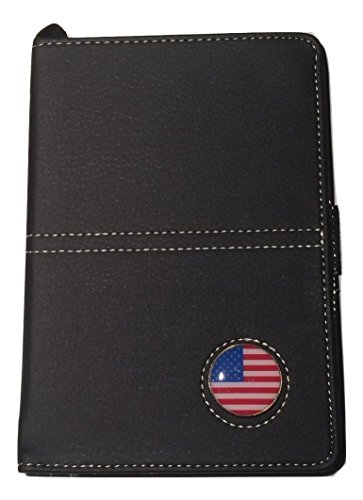 Viking Golf Scorecard Yardage Book Holder Wallet Synthetic Leather with Magnetic USA Flag Ball Marker (Black)