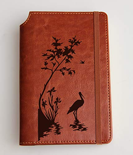 Stork Silhoutte engraved on journal with custom text leather bound, strip with the same color to keep it closed, jotter, scribbling pad, pet, dog ()