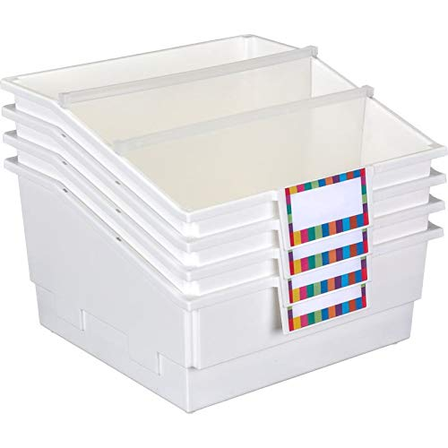 Really Good Stuff Picture Book Library Bins with Dividers (Set of 4) - Available in 15 Colors - Large Book and Organizer Bins with Dividers for One, Two or Three Sections - Built-in Label Holder