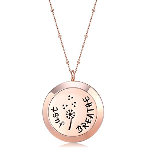 MESINYA Rose Gold Color Just Breathe Aromatherapy/Essential Oils surgical S.Steel Diffuser Locket pendant Necklace (30mm locket W/32'' Ball station Chain) 32 Steel Ball