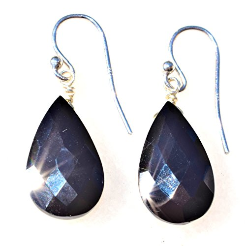 Zenergy Gems Charged Black Tourmaline Crystal Faceted Designer Earrings Healing Energy/Psychic Protection ()