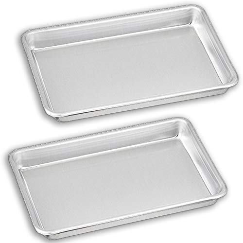 """Bakeware Set - 2 Aluminum Sheet Pan - 1/8 Size (6.5"""" x 9.5"""") - for Home Use. Perfect Size For Your Microwave Oven, Non Toxic, Perfect Baking Supply set for gifts, for new and experienced bakers alike"""