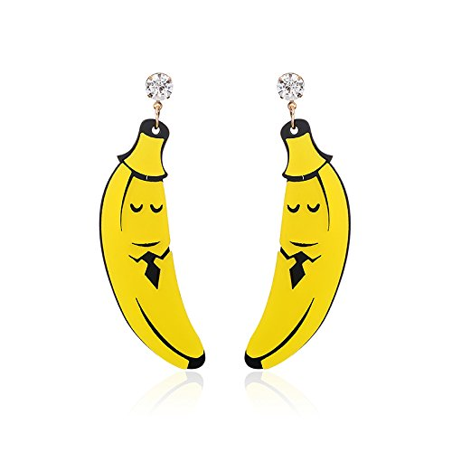 Fun Acrylic Banana Shaped Clear Crystal Dangle Earrings for Women Girls