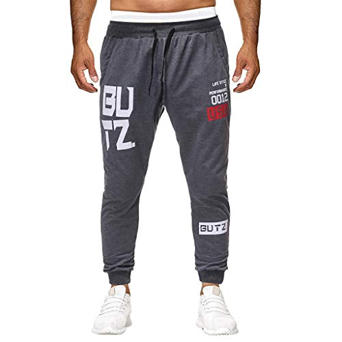 UOFOCO Fashion Elastic Sports Running Pants Men's Summer Print Casual Drawstring Trousers Dark Gray ()
