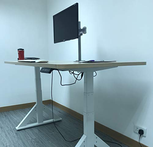 """Rife VESA Full Motion Dual Arm Desk Monitor Mount Stand with Fully Adjustable Arms Fits 2 Screens up to 27"""" ((Silver Monitor Arm)"""
