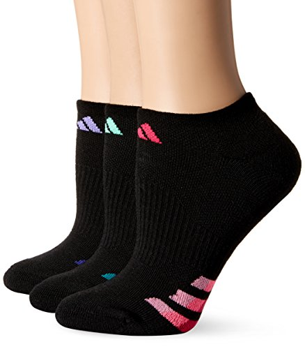 adidas Women's Cushioned No Show Sock (3 Pack), One Size, Black/Light Flash Purple/Green Glow/Bold Pink by adidas (Image #3)