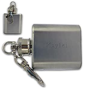 Frasco de bolsillo con llavero con texto grabado: Kaylei (nombre de pila/apellido/apodo)
