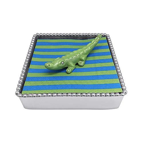 MARIPOSA Green Alligator Bamboo Napkin Box, Silver