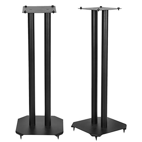 "Smartxchoices Pair Bookshelf Speaker Stands Premium Heavy Duty 6.25"" Metal Square Platform 25"" Height Weight up to 22 lbs Each Universal Pro Monitor Speakers Stands Steel - Black"