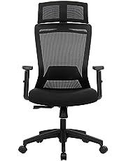 SONGMICS Kontorsstol, skrivbordsstol, ergonomisk svängstol med klädhängare, nätspänning, justerbart nackstöd, höjdjusterbart ryggstöd, lutningsvinkel upp till 120°, svart OBN057B02