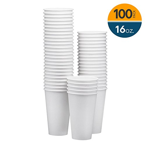 NYHI 100-Pack 16oz White Paper Disposable Cups – Hot/Cold Beverage Drinking Cup for Water, Juice, Coffee or Tea – Ideal for Water Coolers, Party, or Coffee On the Go' - 16 Ounce Cold Cups