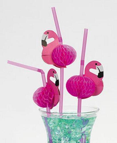 - Pink Flamingo Straws Luau Tropical Beach Party Barware Favor 12 PC