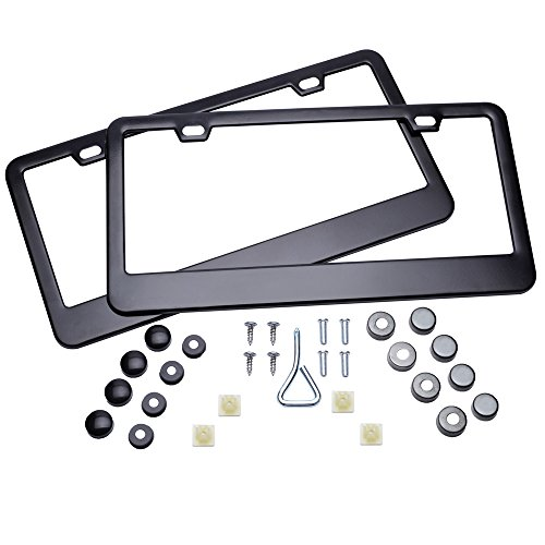 ZYTC Black Licence Plate Frame 2 PCS Stainless Steel Car Licence Plate Cover Slim Design 2 Holes with Bolts Washer Caps for US Vehicles