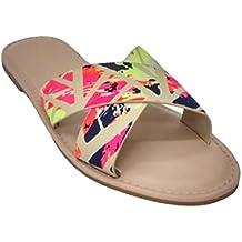Breckelle's Solid Floral Print Women's Open Toe Flat Slide Slipper Sandals