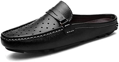 サンダル メンズ オフィス 革 通気 サボサンダル 柔らかい 軽い 歩きやすい スリッポンサンダル 幅広 ドライビングシューズ ビジネスサンダル ブルー・ブラック・ブラウン