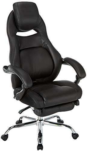 Merax Racing Style Executive PU Leather Swivel Chair Adjustable Pivoting Lumbar and Padded Footrest (Black) Henglin