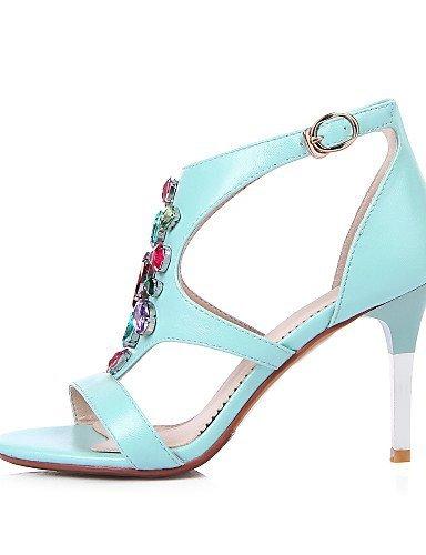 Blau Sandalen Kunstleder Absatz Casual Weiß ShangYi Damenschuhe Stiletto Blau Schwarz w7qAxBgzn