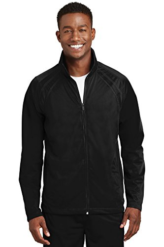 - Sport-Tek Colorblock Track Tricot Jacket, XL, Black/Black