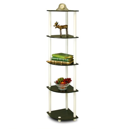 Furinno 99811EX/WH Turn-N-Tube 5 Tier Corner Shelf, Espresso/White