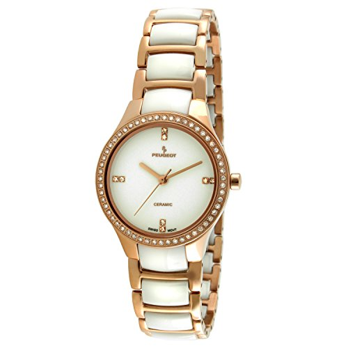 (Peugeot Women's PS4904WR Swiss Ceramic Rose Gold Crystal Bezel Link Watch)