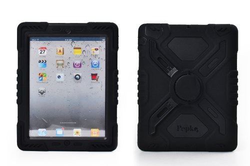 Pepkoo Ipad Mini 1& 2 Case Plastic Kid Proof Extreme Duty Dual Protective Back Cover with Kickstand and Sticker for Ipad Mini 1&2 - Rainproof Sandproof Dust-proof Shockproof (Black/black)