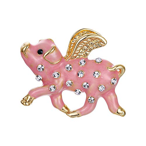 EVER FAITH Austrian Crystals Pink Enamel Lovely When Pigs Fly Brooch Clear Gold-Tone (Pig Brooch)