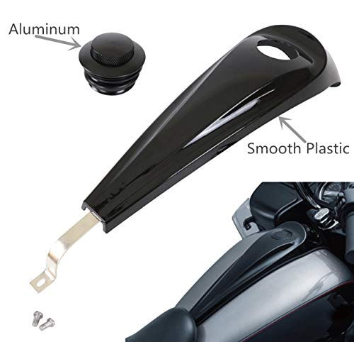 AUFER Gloss Black Signature Jim Nasi Smooth Dash with Vented Fuel Tank Cap for Harley Street/Road Glide 2008-2017