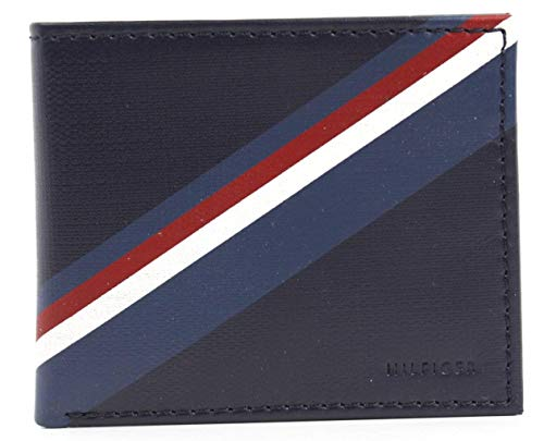 New Tommy Hilfiger Men's Navy Leather Passcase Double