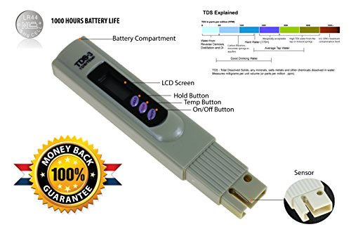 Digital TDS Meter – Water Quality Tester – Temperature Meter Accurate and Reliable Water Test KIT with Leather CASE for Drinking Water, Pools, Aquariums and More 0-9990 ppm mg L PROFES