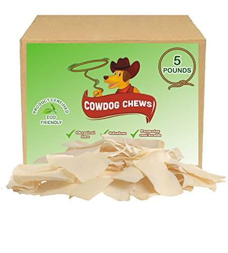 41nIcJ5gkgL - Cowdog Chews Natural Rawhide Chips – Premium LONG-LASTING Dog Treats with Thick Cut Beef Hides, Processed Without Additives or Chemicals (5 Pounds)