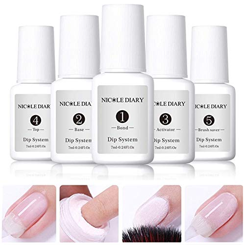 NICOLE DIARY 7ml Dipping Nail Powder System Liquid Clear Full System Set of Liquids with Bond,Base,Activator,Top,And Brush Saver Nail Art Manicure Gel Polish No UV Lamp Needed