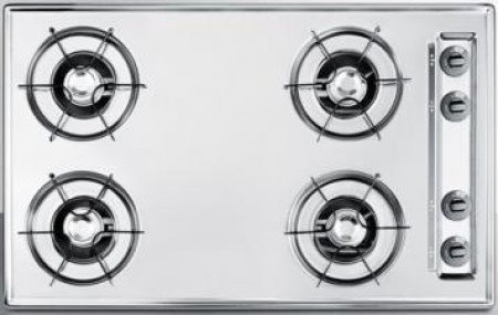 "30"" wide gas cooktop in chrome, with four burners and gas sp"